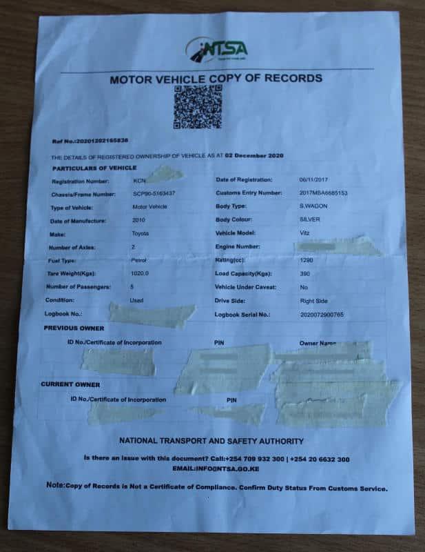 Motor Vehicle Registration Check Online