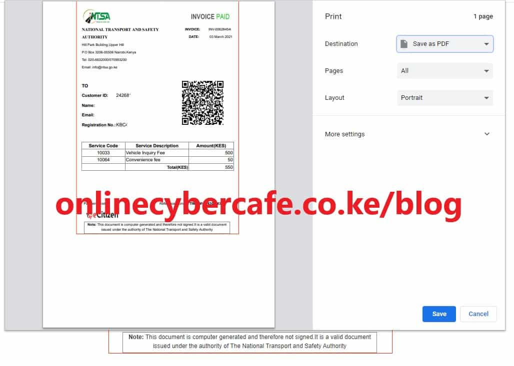 Print tims invoice online