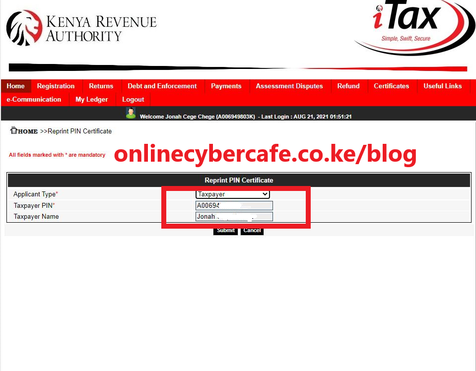 How To Get A Copy Of KRA PIN Certificate